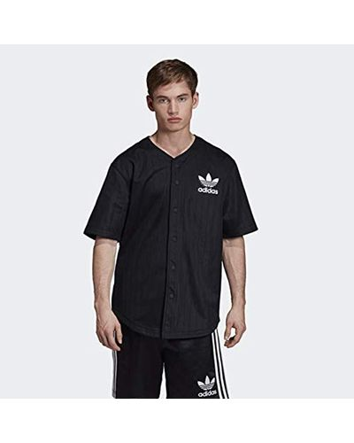 adidas Originals Baseball Jersey in Black for Men - Lyst