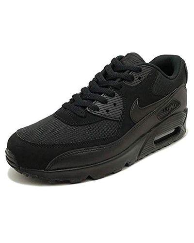 Nike Leather Air Max 90 Essential Low-top Sneakers in Black/Black ...