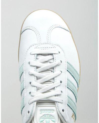 adidas Originals Leather Originals White And Mint Gazelle Trainers ...