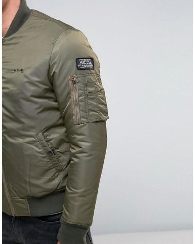 Schott Nyc Synthetic Airforce1 Nylon Bomber in Green for Men - Lyst