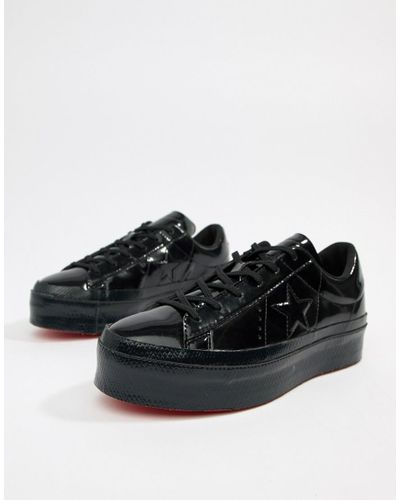 Converse Leather One Star Platform Ox Black Sneakers - Lyst