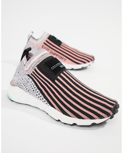Adidas Originals Eqt Support Sock 1/3 Trainers In Black And Pink