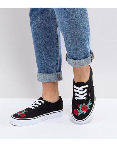 Baskets avec broderie florale Toile Vans en coloris Noir - Lyst
