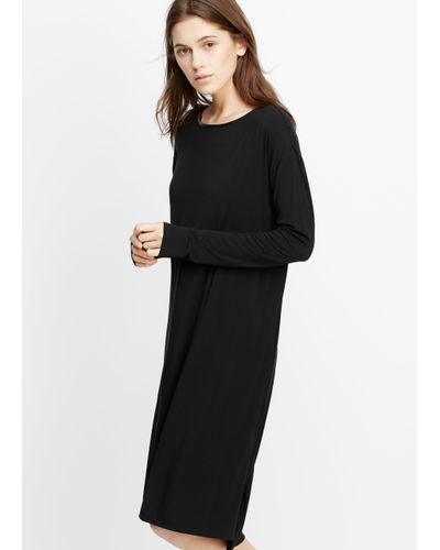 Vince Black Luxe Cotton Blend Long Sleeve T-shirt Dress With Faux Leather Trim