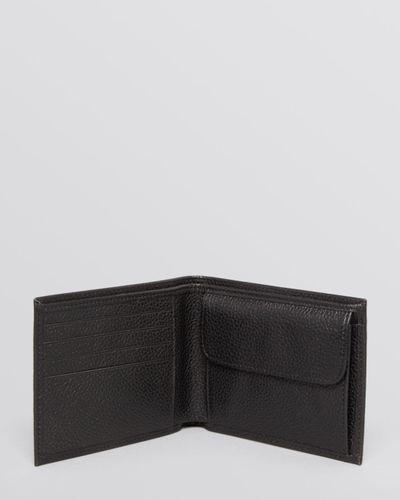 Longchamp Black Le Foulonné Bifold Wallet With Coin Pouch for men