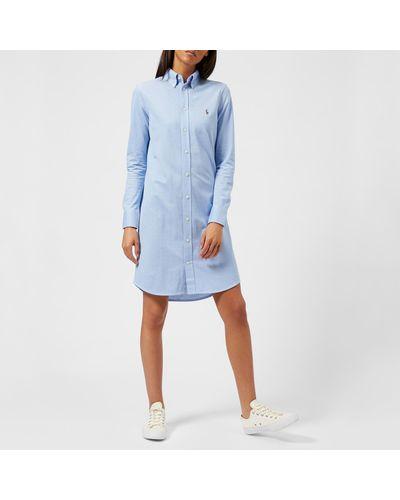 Polo Ralph Lauren Cotton Oxford Shirt Dress in Blue - Lyst