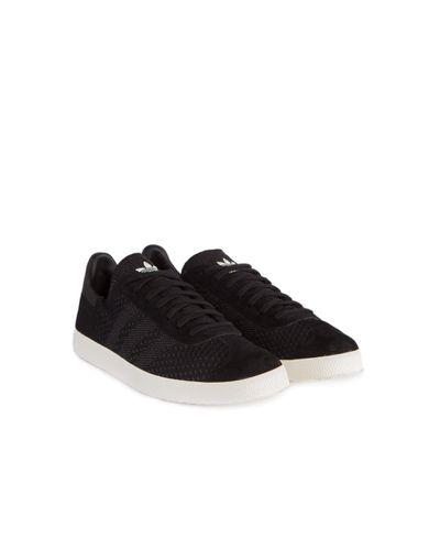 adidas Originals Leather Gazelle Primeknit Black for Men - Lyst