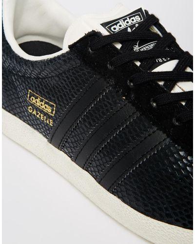 adidas Gazelle Og Black Leather Sneakers - Lyst