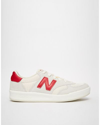New Balance 300 White/red Suede Trainers - Lyst