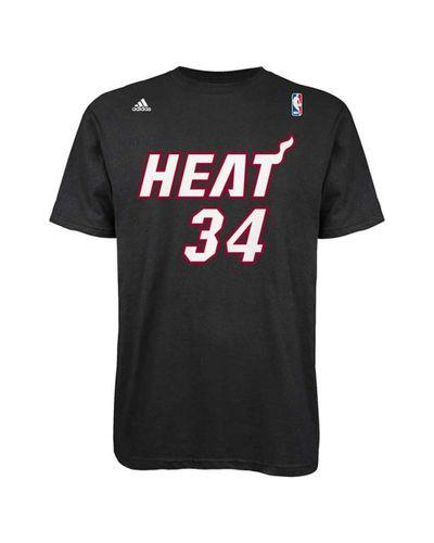 Adidas Black Mens Shortsleeve Ray Allen Miami Heat Player Tshirt for men