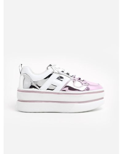 Hogan Leather Sneakers Maxi Cassetta Mettalico Rosa in White - Lyst