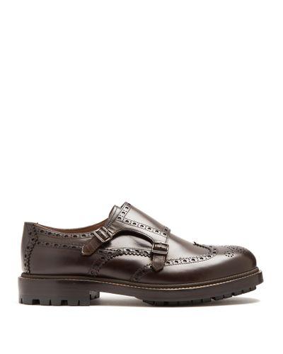 New BRUNELLO CUCINELLI Brown Leather Double Monkstrap Shoes 6//36 $1355