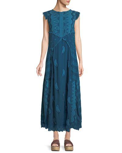Johnny Was Xanafa Cap-sleeve Rayon Georgette Maxi Dress in ...