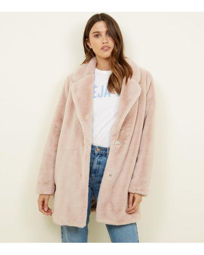 Look Pale Pink Faux Fur Longline Coat, New Look White Faux Fur Longline Coat