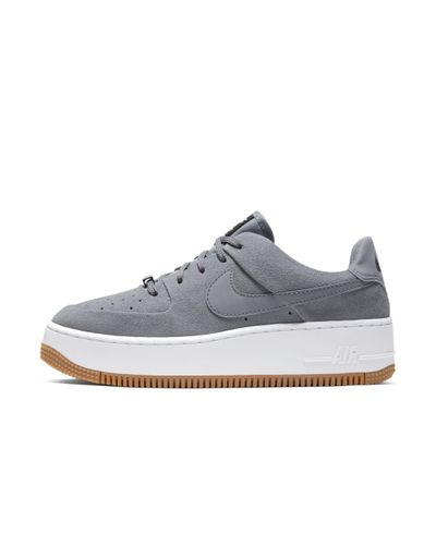 Nike Leather Air Force 1 Sage Low Shoe in Grey (Gray) - Lyst