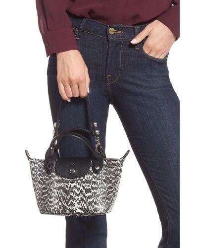 Longchamp Black Le Mini Pliage Cuir Snake Embossed Leather Top Handle Bag