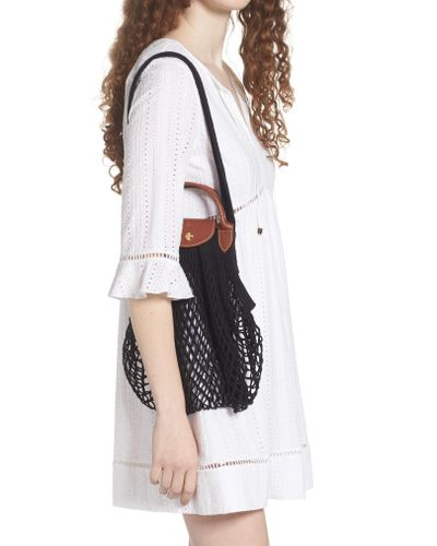 Longchamp Black Le Pliage Filet Knit Shoulder Bag