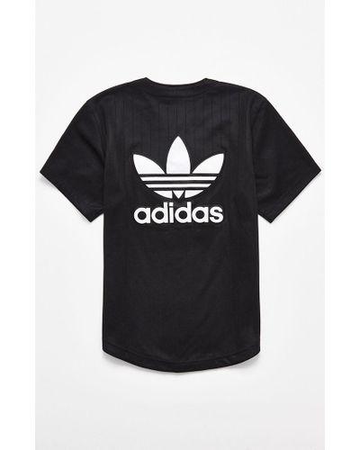 adidas Pinstripe Baseball Jersey in Black/White (Black) for Men - Lyst