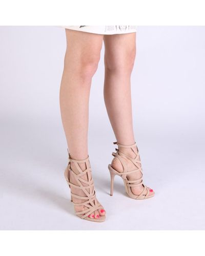 Camel Nude Faux Suede Cut Out Lace Up High Heels