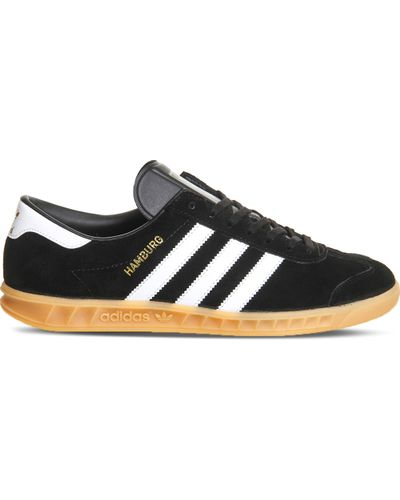 adidas Hamburg Suede Trainers in Black for Men - Lyst
