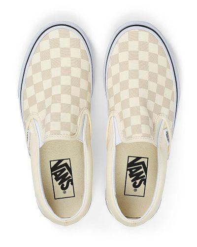 Vans Canvas Checkerboard Classic Beige Slip in Ivory White (White ...