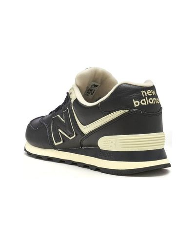 New Balance 574 Leather Trainers In Black Powder Grey Ml574 Luc ...