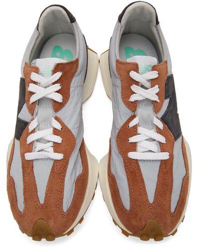 Baskets brunes et grises 327 Daim New Balance pour homme en ...