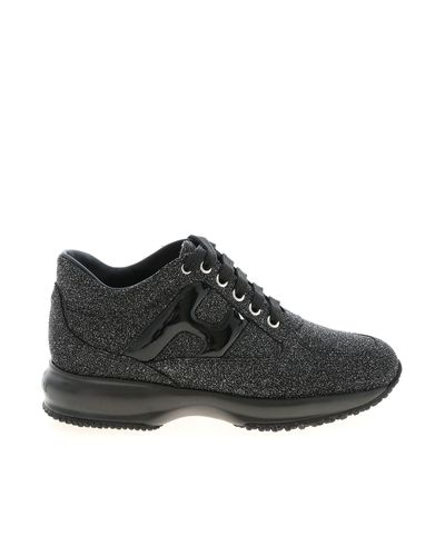Hogan Leather Glitter Interactive Sneakers In Black - Lyst