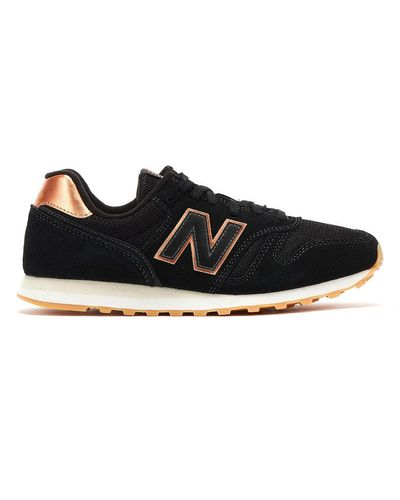 New Balance Suede 373 Womens Black / Rose Gold Trainers for Men - Lyst