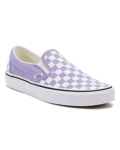 Vans Canvas Classic Slip-on Womens Violet Tulip Checkerboard ...
