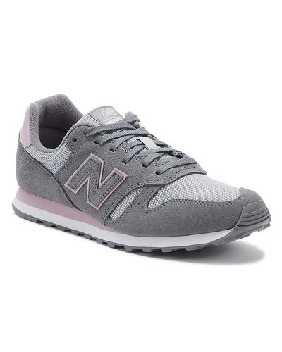 New Balance Suede 373 Womens Grey / Pink Trainers in Gray - Lyst
