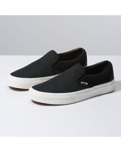 Vans Suede Woven Check Slip-on in Black - Lyst