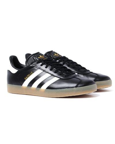 adidas Originals Leather Black & Gold Gazelle Trainers for Men - Lyst