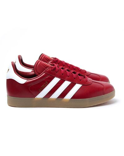 adidas Originals Mystery Red Leather Gazelle Trainers for Men - Lyst