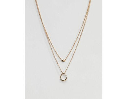 71358587ee440 Women's Metallic Twisted Nugget Bead And Hoop Multirow Necklace