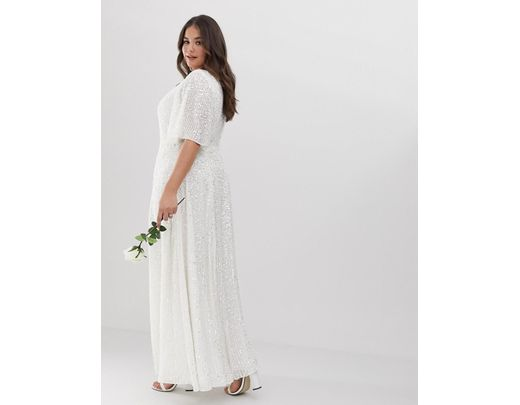 72a05bd5359 ASOS Asos Edition Curve Flutter Sleeve Sequin Maxi Wedding Dress in White -  Lyst