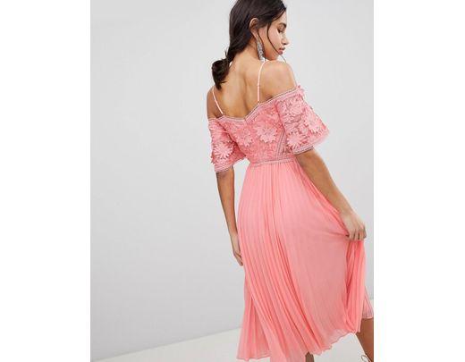 bc32512c0 Vestido midi con top de encaje de guipur y falda plisada de mujer de color  rosa