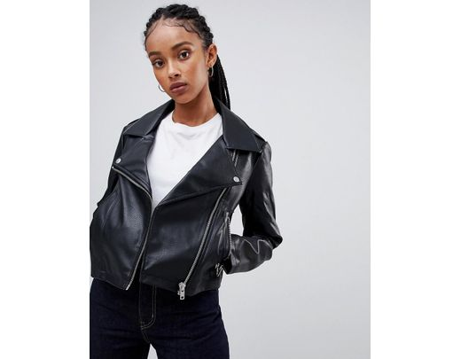 d2d0f0a6ab Lyst - ASOS Ultimate Leather Look Biker Jacket in Black