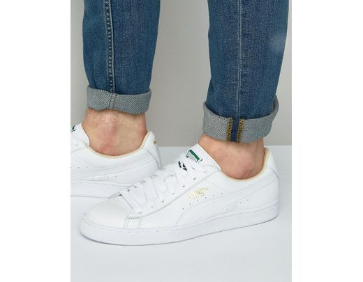 64b54b83c32 PUMA Basket Classic Sneakers In White Leather in White for Men - Lyst