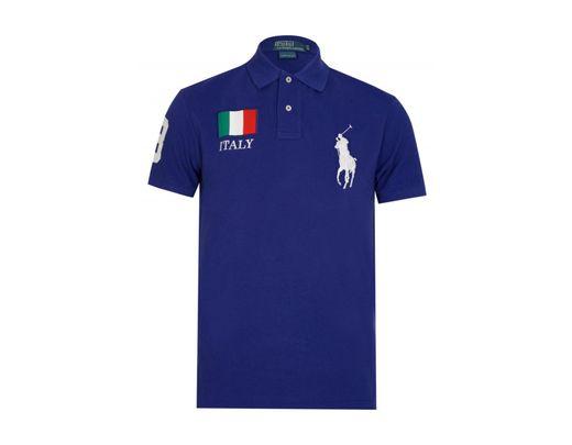 'italy' Custom Shirt Fit Blue Polo Men's SVUzMGpq