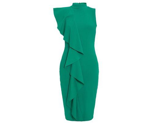 8ff9d5b4c99 Women's Green Jade Crepe High Neck Ruffle Midi Dress