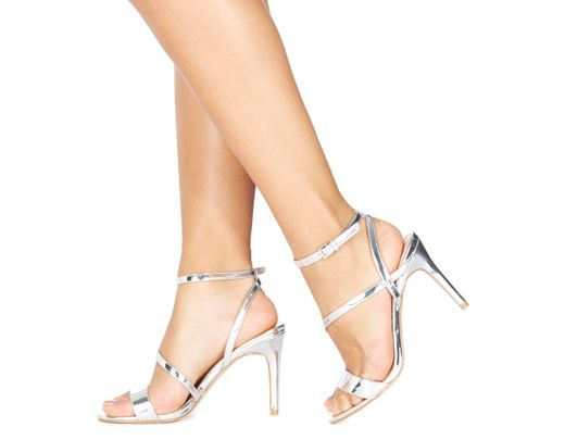 89afff31759c Faith. Women s Metallic Silver  delly  High Heel Wide Fit Ankle Strap  Sandals