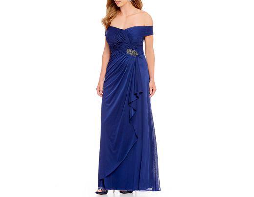 c76b5e052d Alex Evenings Plus Size Off The Shoulder A-line Long Gown in Blue - Lyst