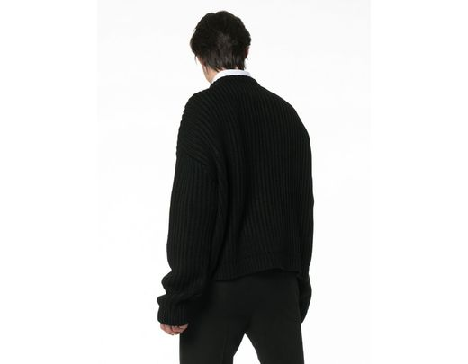 ca849e77e Men's Black Jaws Print Knitted Relaxed Fit Sweater