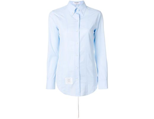 b28b33c52f Women's Blue Lace-up Back Long Sleeve Button Down Point Collar Shirt In  Solid Poplin