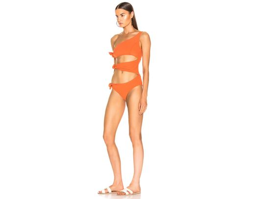 ef4c476d355 Lyst - Lisa Marie Fernandez Bianca Crepe Maillot Swimsuit in Orange