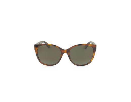 ceaa5d7f2ec3a Gucci. Yellow GG0097S 006 Havana Acetate Cat Eye Women s Polarized  Sunglasses