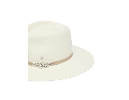 eb60a5534 Lyst - Maison Michel 'charles' Glass Crystal Ribbon Straw Fedora Hat ...