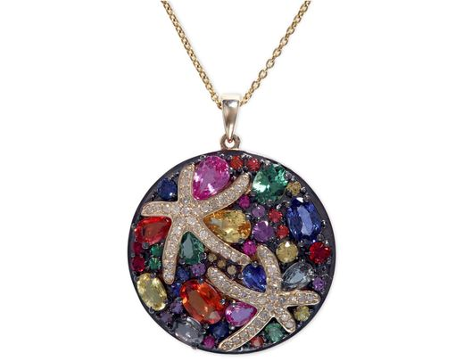 6bce284e0 Effy Collection Multicolor Sapphire (5-3/8 Ct. T.w.) And Diamond (1/4 Ct.  T.w.) Starfish Pendant In 14k Gold - Save 66% - Lyst