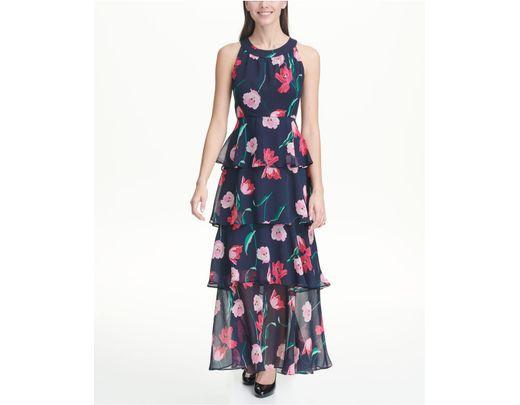 ef78cb8a0c9 Tommy Hilfiger Printed Chiffon Tier Maxi Dress